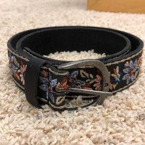 Lucky Brand Black Embroidered Belt